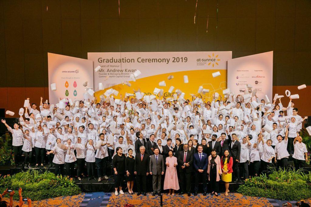 culinary students graduating hat toss